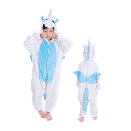 animal kigurumi blue Unicorn onesie pajamas for kids