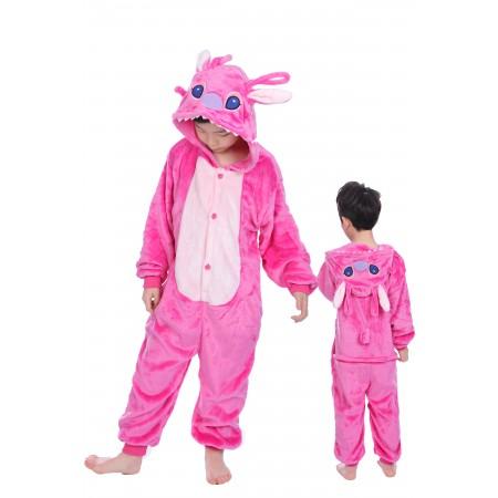 animal kigurumi pink Stitch onesie pajamas for kids