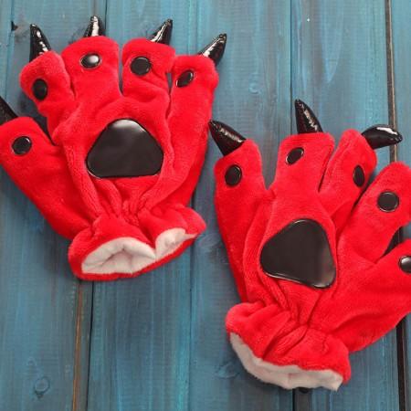 Red Kigurumi Unisex Onesies Animal Hands Paw Flannel Cartoon Gloves