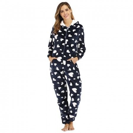 Zip Up Women Onesie with Hood Onesie One-Piece Pajamas Coral Fleece