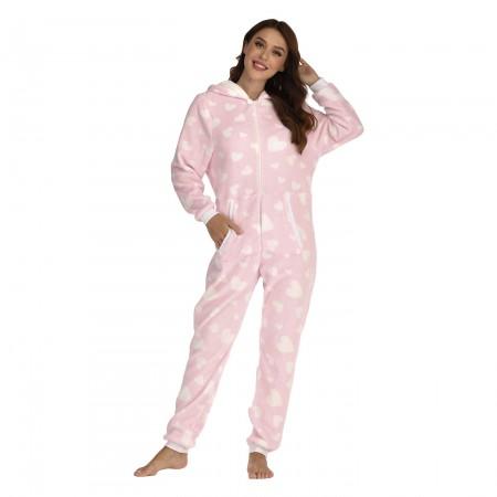Women Onesie with Hood One-Piece Pajamas Pink Coral Fleece