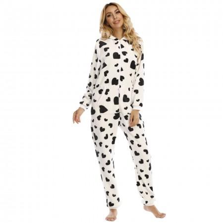 Adult Women Onesie with Hood One-Piece Pajamas Coral Fleece