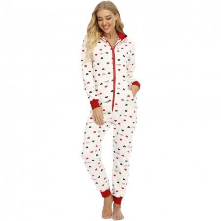 Adult Women Onesie One-Piece Pajamas with Hood Zip Up