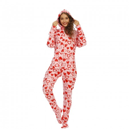 Adult Women Footed Onesie One-Piece Pink Pajamas with Hood Zip Up