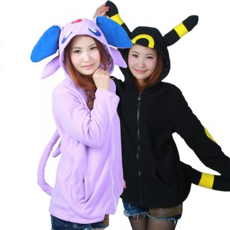 Pokemon Espeon & Umbreon Zip Up Hoodie Coat Jacket Costumes