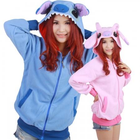 Stitch & Angel Hoodie Zip Up Jacket Cute Coat Stitch Costumes