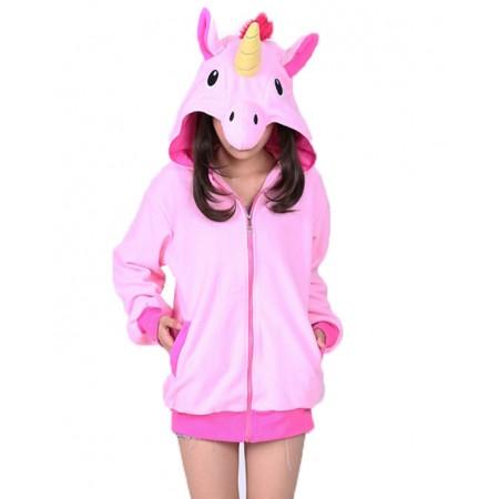 Pink Unicorn Hoodie Coat Jacket Zip Up