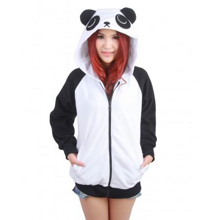 Panda Hoodie Costume Zip Up Coat Jacket