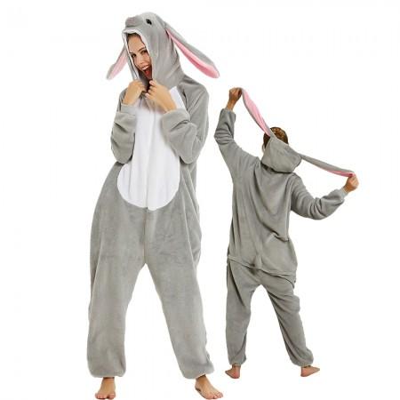Gray Bunny Rabbit Onesie Animal Halloween Costumes for Women & Men