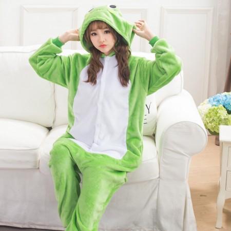 Adult Frog Onesie Pajamas Animal Halloween Costumes for Women & Men