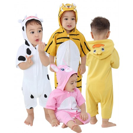 Baby Summer Hooded Romper for Infant Boy Girl Jumpsuit Outfits 100% Cotton Onesie