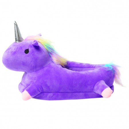 Purple 3D Cute Plush Unicorn Light Up Slippers Foam Support Comfort Non Slip Warm Soft House Indoor Slippers Shoes