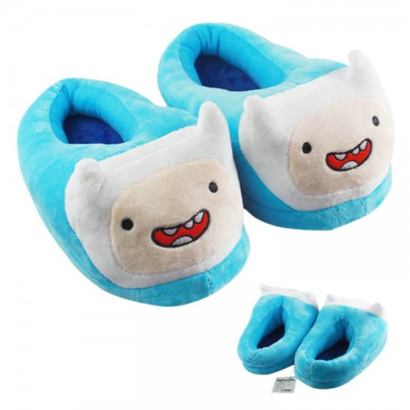 sky blue Adventure Time with Finn and Jake sky blue warm shoes plush slippers