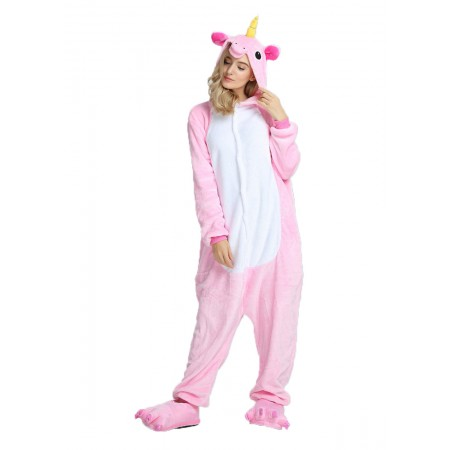 Pink Unicorn Kigurumi Onesie Pajamas Animal Costumes For Women & Men