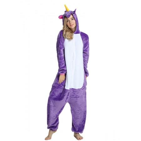Purple Unicorn Kigurumi Onesie Pajamas Animal Costumes For Women & Men