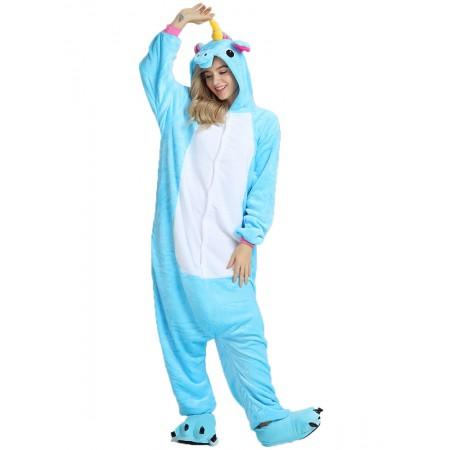 Blue Unicorn Kigurumi Onesie Pajamas Animal Costumes For Women & Men