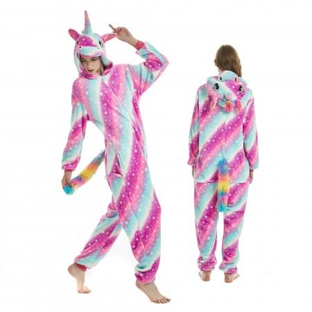 Purple Dream Unicorn Onesie Rainbow Tail for Adult Kigurumi Animal Pajamas Funny Halloween Costumes