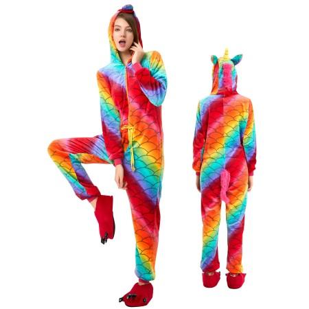 Scale Unicorn Onesie for Adult Kigurumi Animal Pajamas Funny Halloween Costumes