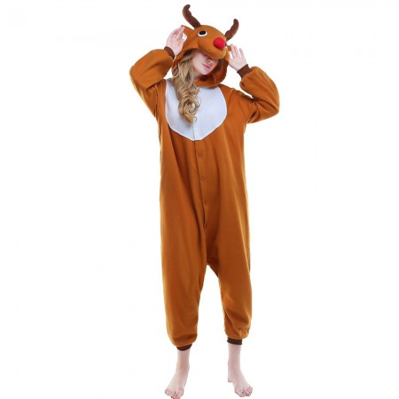 Reindeer Rudolph Onesie Pajamas Kigurumi Animal Costumes For Adult Brown