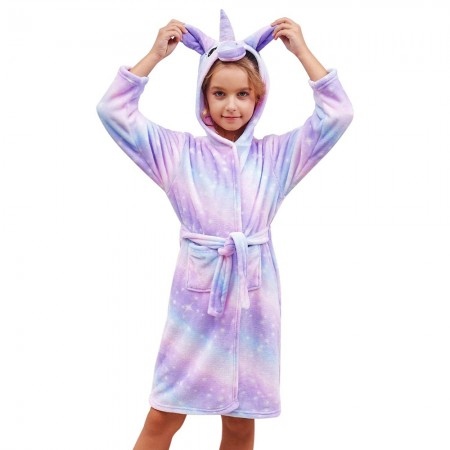 Unicorn Hooded Bathrobes For Girls - Best Gifts Soft Sleepwear Purple Galaxy