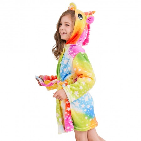 Unicorn Hooded Bathrobes For Girls - Best Gifts Soft Sleepwear Rainbow Star