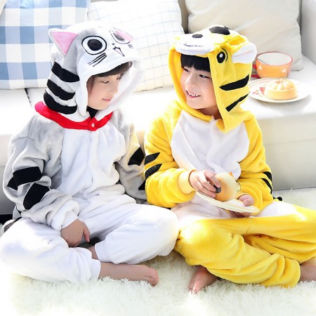 Cheese cat and Tiger Onesie Pajamas Animal Kids Kigurumi