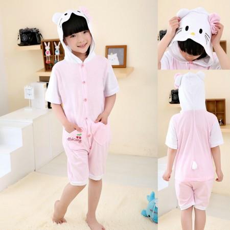 White Hello Kitty cat kids Animal Onesies Short Sleeves Pajama