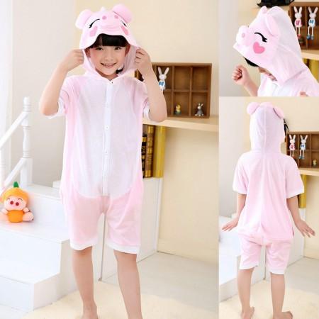 Pink Pig kigurumi kids Animal Onesies Short Sleeves Pajama Costume