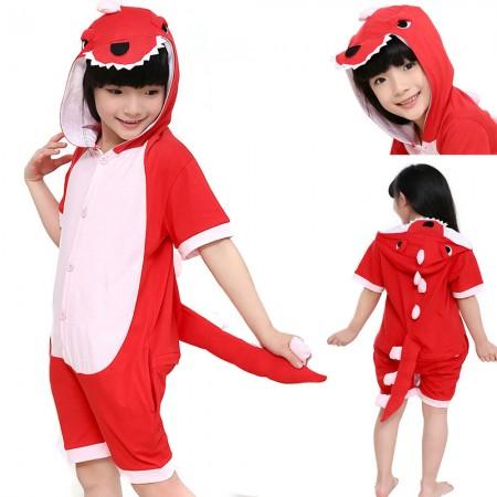 Red Dinosaur Kigurumi Kids Short Sleeves Animal Onesies pajama