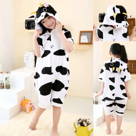Cartoon Cow pattern kids Animal Onesies Short Sleeves Pajama Costume