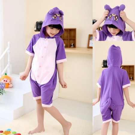 Cartoon Purple Cat kids Animal Onesies Short Sleeves Pajama Costume