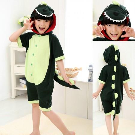 Green Dinosaur kigurumi kids Animal Onesies Short Pajama Costume