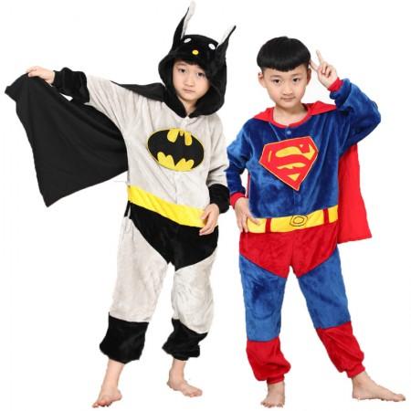 Batman & Superman Onesie Pajamas Costumes for Kids