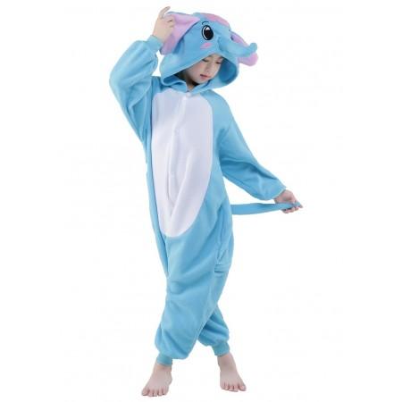 Blue Elephant Kigurumi Onesie Pajamas Animal Costumes for Kids