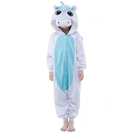 White Unicorn Kigurumi Onesie Pajamas Animal Costumes for Kids