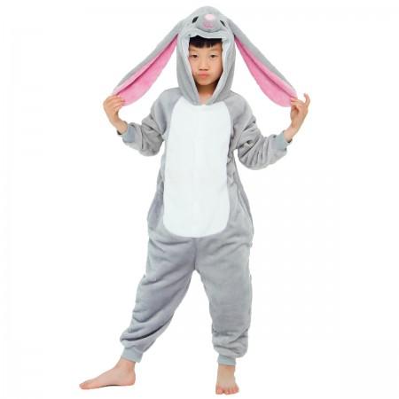 Grey Bunny Onesie For Kids Boys & Girls Animal Costumes