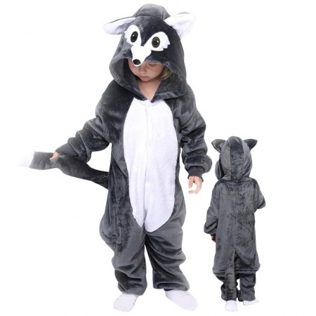 Grey Wolf Onesie For Kids Boys & Girls Animal Costumes