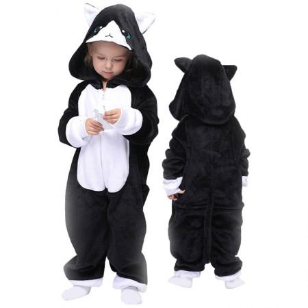 Black Cat Onesie For Kids Boys & Girls Animal Costumes