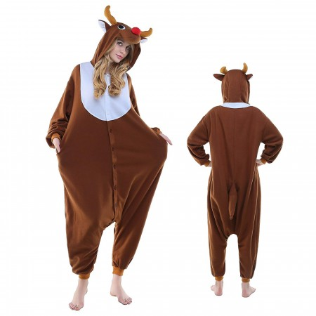 Reindeer Rudolph Onesie Pajamas Kigurumi Animal Costumes For Adult