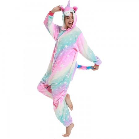 Pink Star Unicorn Onesie Pajamas Animal Halloween Costumes for Women & Men