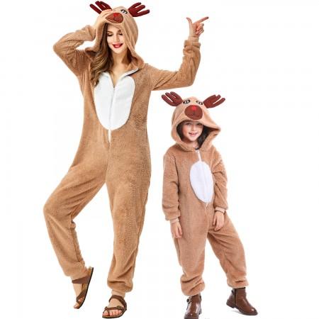 Unisex Adult & Kids Christmas Deer Rudolph Onesie Santa Suit Outfit One-Piece Pajama