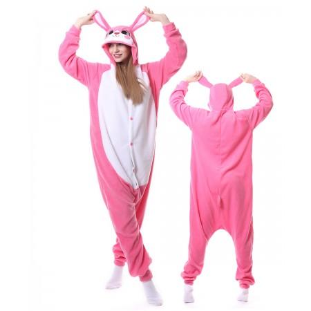 Pink Rabbit Kigurumi Onesie Animal Pajamas For Adults