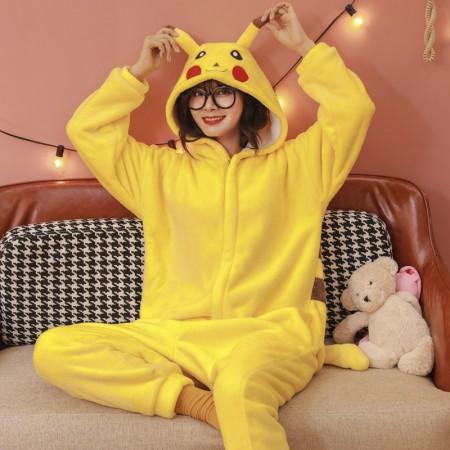 Pikachu Onesie Pajamas Animal Halloween Costumes for Women & Men with Zipper