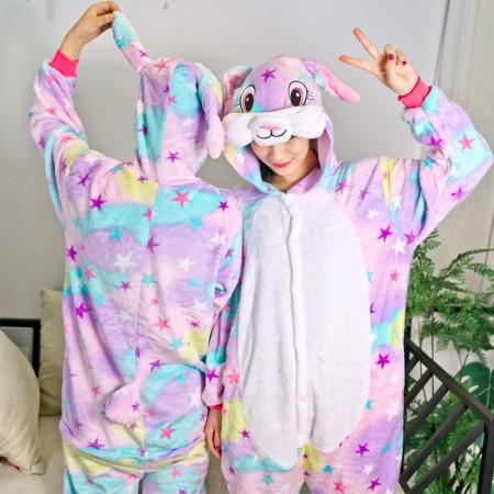 Dream Star Rabbit Onesie Pajamas Animal Halloween Costumes for Women & Men