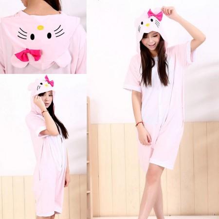 Pink KT Cat Pajamas Animal Onesie Hoodie Costume Kigurumi Short Sleeve