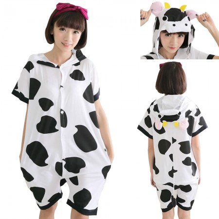 Cow Pajamas Animal Onesie Hoodie Kigurumi Short Sleeve