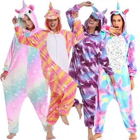 Unicorn Onesie Costumes Rainbow Color for Adult & Kids Zipper Up