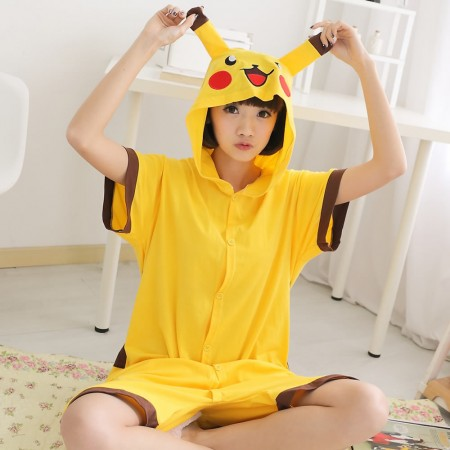 Pikachu Pajamas Animal Onesie Hoodie Kigurumi Short Sleeve