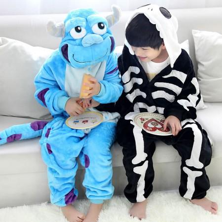 Kids Sulley & Skeleton Onesie Pajamas Animal Costumes Onesies for Boys & Girls