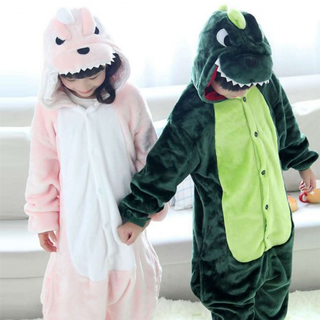 Green & Pink Dinosaur Onesie Pajamas Animal Kigurumi Costumes for Kids